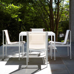 Richard Schultz 1966 Dining Table White Square with Dining Chairs Outdoor Knoll