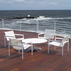 Richard Schultz White Petal Table with Lounge Chairs at Beach Knoll Outdoors
