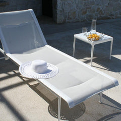 Richard Schultz 1966 Outdoor Side Table with Chaise Lounge White Knoll