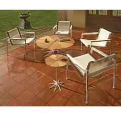 Richard Schultz Teak Petal Tables with 1966 Lounge Chairs Knoll Outdoors