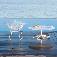 Richard Schultz White Petal Table with Bertoia Diamond Chair in the Water Knoll Outdoors