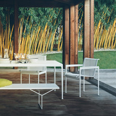 Knoll Richard Schultz Rectangular 1966 Dining Table with Bertoia Bench outdoors