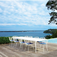 Knoll Richard Schultz 1966 Dining Tables with Bertoia Chairs Outdoors by Pool