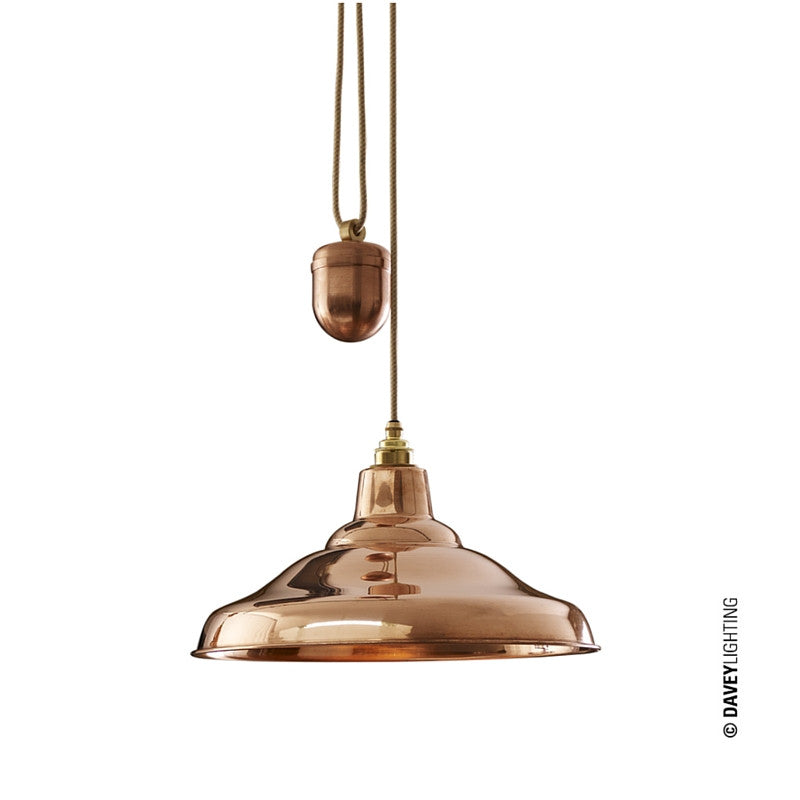Rise & Fall School Pendant Light Polished Copper Davey Lighting Original BTC