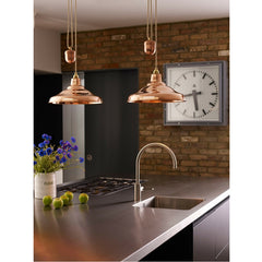 Rise & Fall School Pendant Light Polished Copper Kitchen Davey Lighting Original BTC