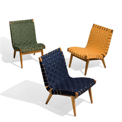 Risom Outdoor Lounge Chairs (Navy, Ochre, and Fern Subrella Webbing) by Knoll