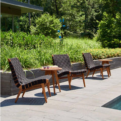 Knoll Risom Teak Outdoor Side Tables with Lounge Chairs
