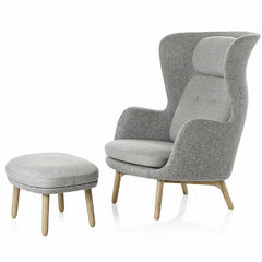 Jaime Hayon Ro Chair and Ottoman with Wood Legs Designer Selection Light Grey Fritz Hansen