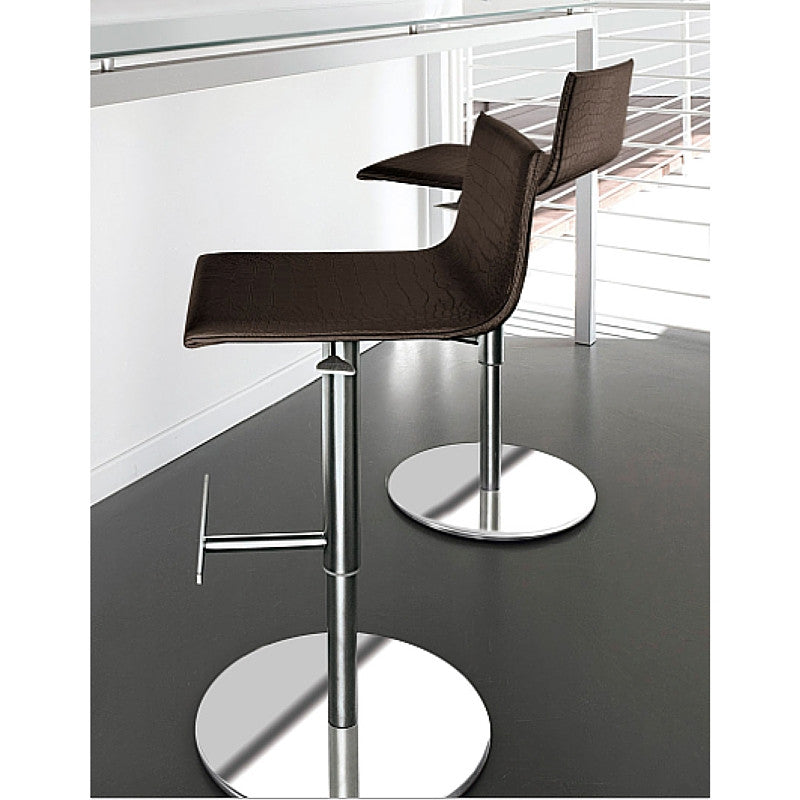 Roby Stools Dark Brown Stamped Leather Antonello Italia