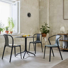Ronan and Erwan Bouroullec's Belleville Round Bistro Table with Belleville Arm and Side Chairs by Vitra