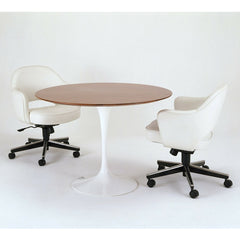 Saarinen Executive Arm Chairs on Swivel Base White Leather with Round Saarinen Pedestal Table Walnut Knoll