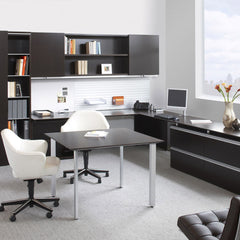 Saarine Executive Arm Chairs White Leather on Casters in Office Knoll