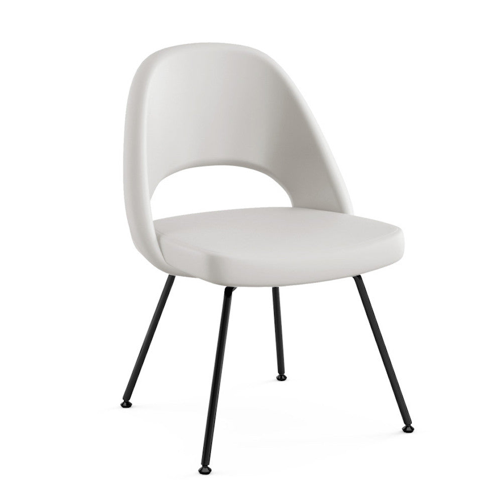 Saarinen Executive Armless Chair White Leather With Black Painted Legs