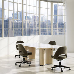 Saarinen Executive Armless Office Chairs on Casters Knoll Velvet in Conference Room