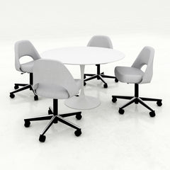 Saarinen Executive Armless Office Chairs on Swivel Base Light Grey with Round Pedestal Table Knoll