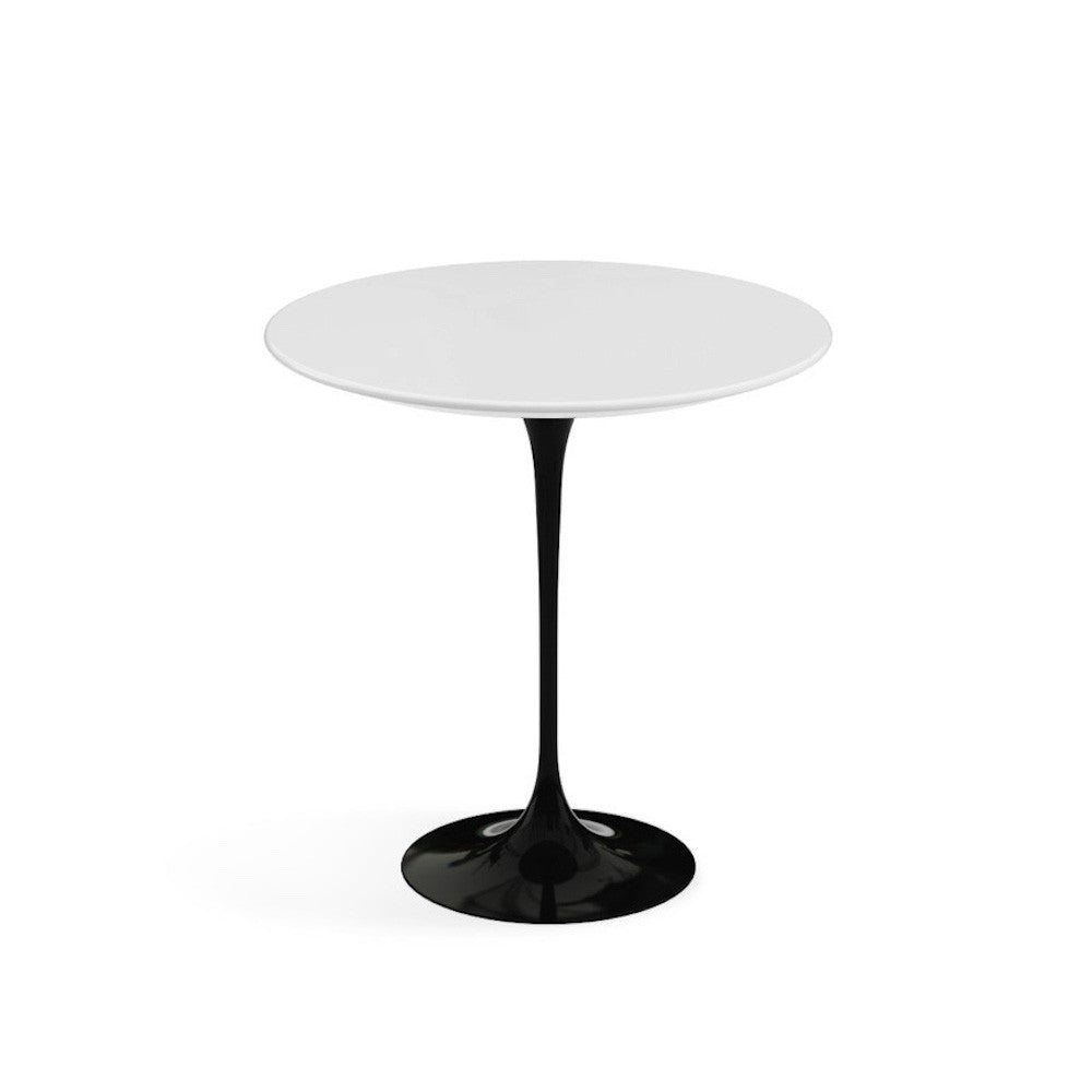 saarinen side table white laminate top black base