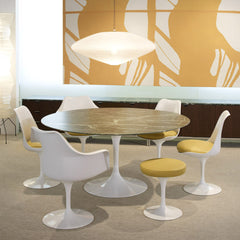 Saarinen Tulip Stool Yellow in Room with Pedestal Table and Tulip Chairs Knoll