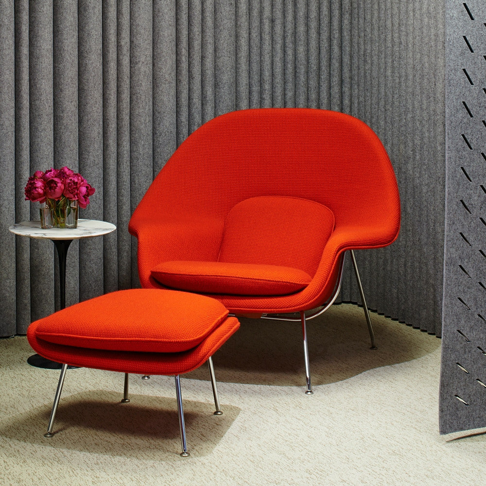 Knoll Womb Chair | Eero Saarinen | Modern Furniture | PALETTE & PARLOR - Saarinen Womb Chair and Ottoman in Cato Red in Room with FilzFelt  Acoustical Panels Knoll