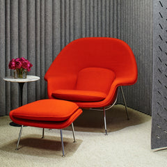 Saarinen Womb Chair and Ottoman in Cato Red in Room with FilzFelt Acoustical Panels Knoll