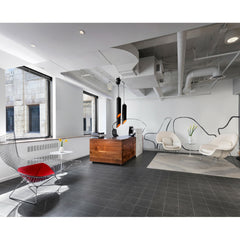 White Leather Womb Chairs with Bertoia Bird Chair in Office Reception Area Knoll