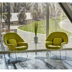 Saarinen Womb Chairs in Lobby Knoll Hopsack Lime