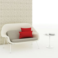 Saarinen Womb Settee in Split Upholstery with Red Pillows and Saarinen Side Table