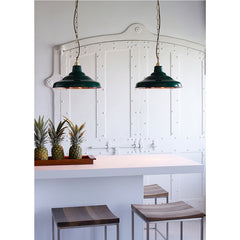 School Light Painted Green Polished Copper Interior Pair over Kitchen Bar Davey Lighting Original BTC