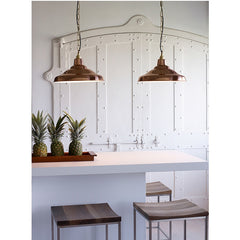 School Light Polished Copper White Interior Pair over Kitchen Bar Davey Lighting Original BTC