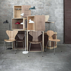 Walnut Grand Prix with Oak and Elm Series 7 and Ant Chairs, Kaiser Idell Lamps Fritz Hansen