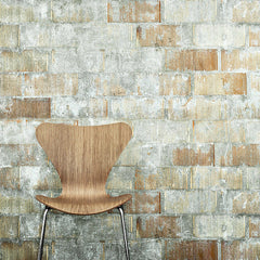 Walnut Series 7 Chair on Weathered Brick Wall Arne Jacobsen Fritz Hansen