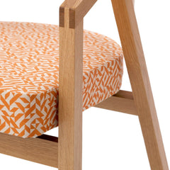 Shelton Mindel Side Chair Maple with Albers Eclat Fabric Closeup Knoll