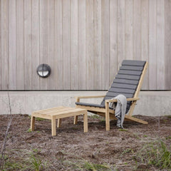 Skagerak Teak Between Lines Deck Chair with Seat Cushion and Stool