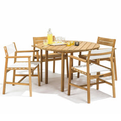 Skargaarden Djuro Teak Round Outdoor Dining Table styled with Djuro Dining Chairs