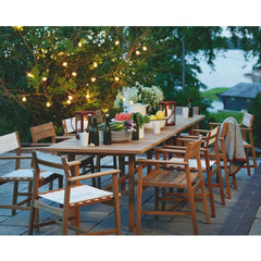 Skargaarden Djuro Batyline Dining Chairs Outdoors with Teak Rectangular Djuro Dining Table
