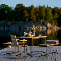 Grinda Armchair, Benches, and Table with Haverdahl Blanket by Skargaarden