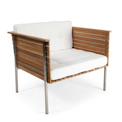 Skargaarden Haringe Lounge Chair with Brushed Stainless Steel Frame and White Sunbrella Natte Fabric