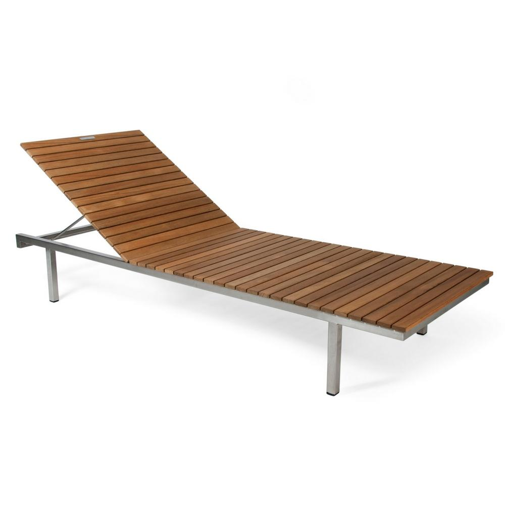 Skargaarden Haringe Sunlounger with Brushed Stainless Steel Frame and Teak Slats