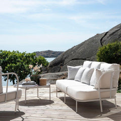 Skargaarden Salto Sofa and Lounge Table on Deck Swedish Summer