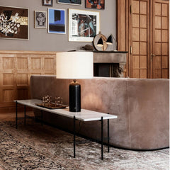Gravity Table Lamp with TS Console Table, Stay Sofa, Grasshopper Table Lamp, and Randaccio Wall Mirror by GUBI