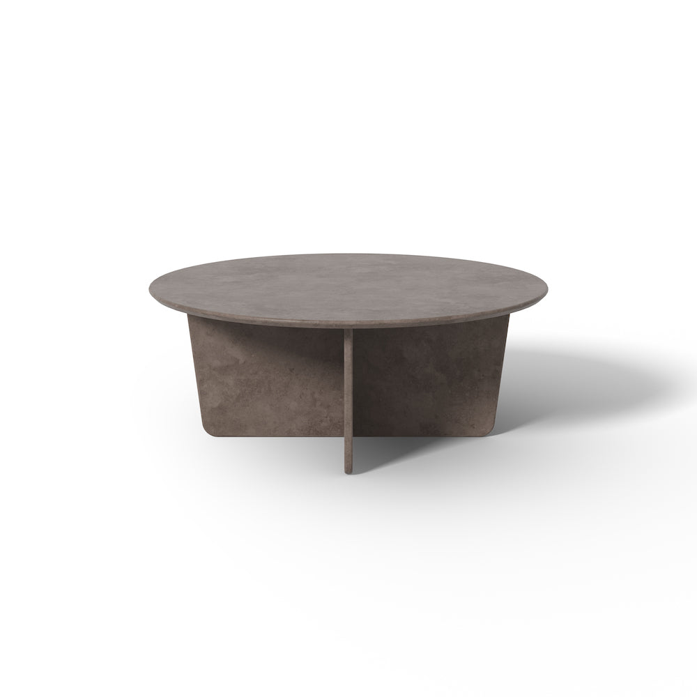 Tableau 39-inch Round Coffee Table in Dark Atlantico Limestone by Space Copenhagen for Fredericia