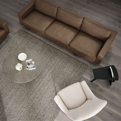 Tableau Coffee Table in Dark Atlantico Limestone by Space Copenhagen with Risom 65 Sofa and Risom A-Chair and Magazine Table for Fredericia