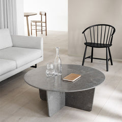 Round Tableau Coffee Table by Space Copenhagen with J64 Chair and Calmo Sofa by Fredericia