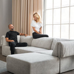 GUBI Wonder Sofa with its creators Space Copenhagen