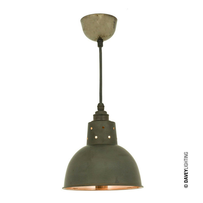 Spun Reflector Pendant with Cord Grip Weathered Copper Exterior Polished Copper Interior Davey Lighting Original BTC