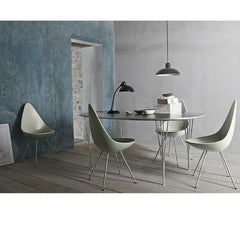 Fritz Hansen Superelliptical Span Leg Table in Room with Arne Jacobsen Drop Chairs