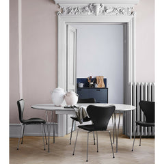 Piet Hein Arne Jacobsen White Super Elliptical Table with Black Leather Series 7 Chairs Fritz Hansen