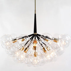 PELLE Supra Bubble Chandelier with Black Leather