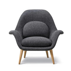 Fredericia Swoon Lounge Chair by Space Copenhagen in Kvadrat Hallingdal 65 180