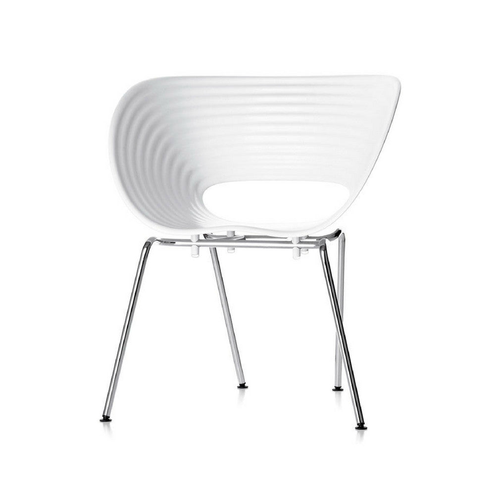 White and Chrome Tom Vac Chair by Ron Arad for Vitra