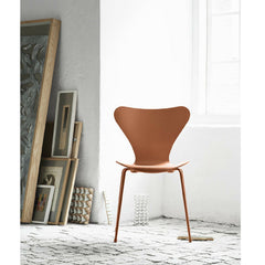 Chevalier Orange Monochrome Series 7 Chair in Room Arne Jacobsen Fritz Hansen